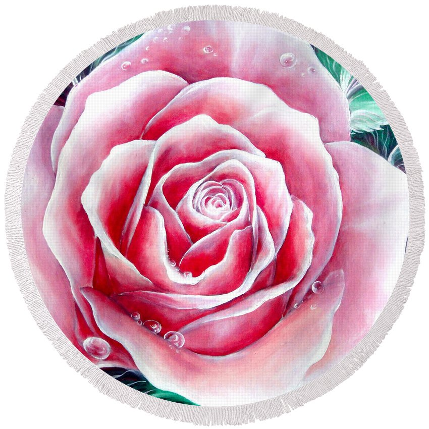 Rose Round Beach Towel featuring the painting Pink Rose Flower by Sofia Metal Queen