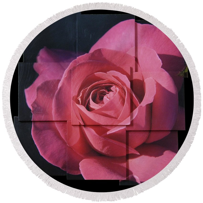 Rose Round Beach Towel featuring the sculpture Pink Rose Photo Sculpture by Michael Bessler