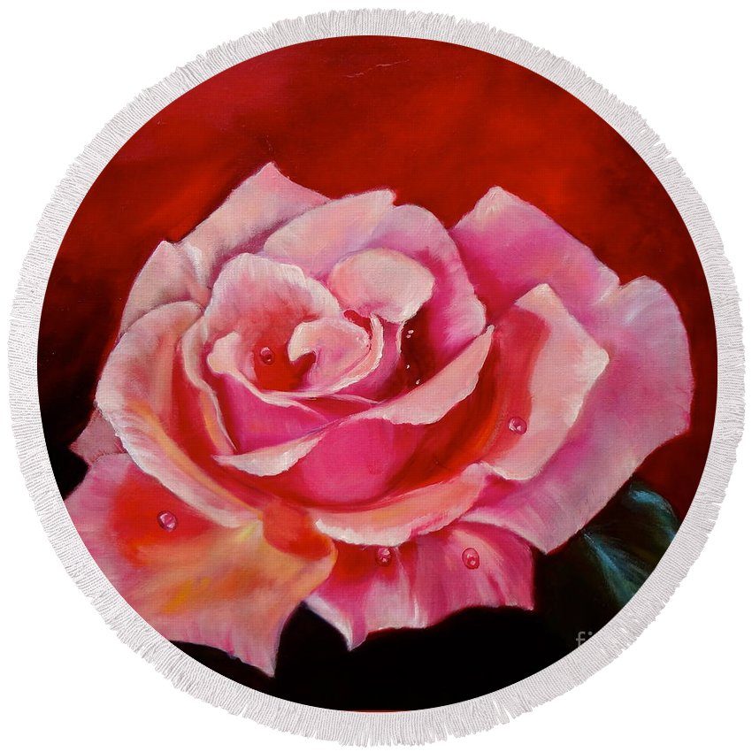 Botanical Round Beach Towel featuring the painting Pink Rose With Dew Drops Jenny Lee Discount by Jenny Lee