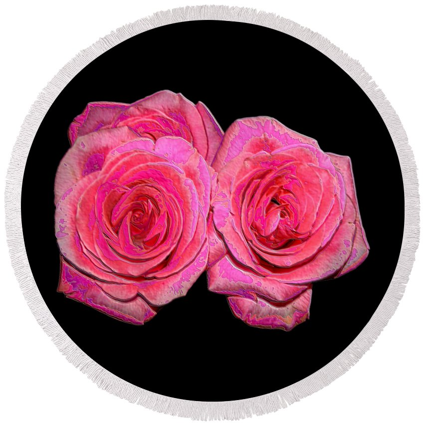 Two Pink Roses Round Beach Towel featuring the photograph Pink Roses With Enameled Effects by Rose Santuci-Sofranko