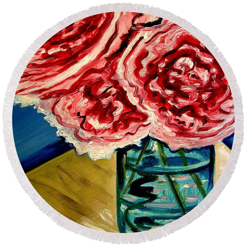 Floral Round Beach Towel featuring the painting Pink Ruffled Peonies by Elizabeth Robinette Tyndall