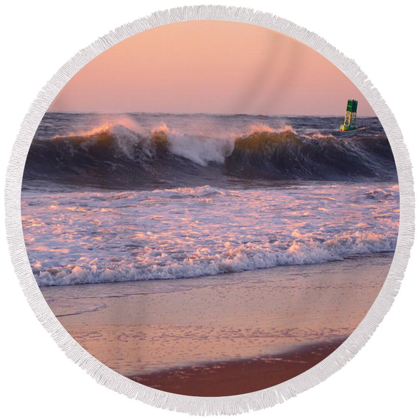 Ocmd 2014 Round Beach Towel featuring the digital art Pink Sky Dawn by Candy Bott