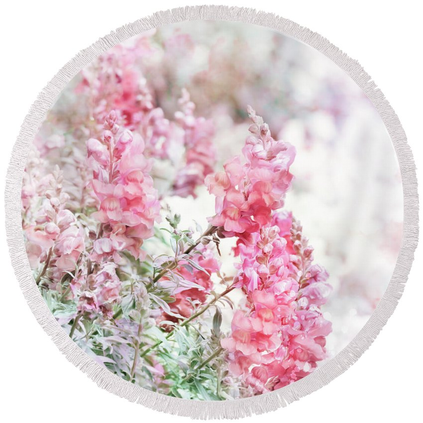 Floral Round Beach Towel featuring the digital art Pink Snapdragons Watercolor by Svetlana Foote