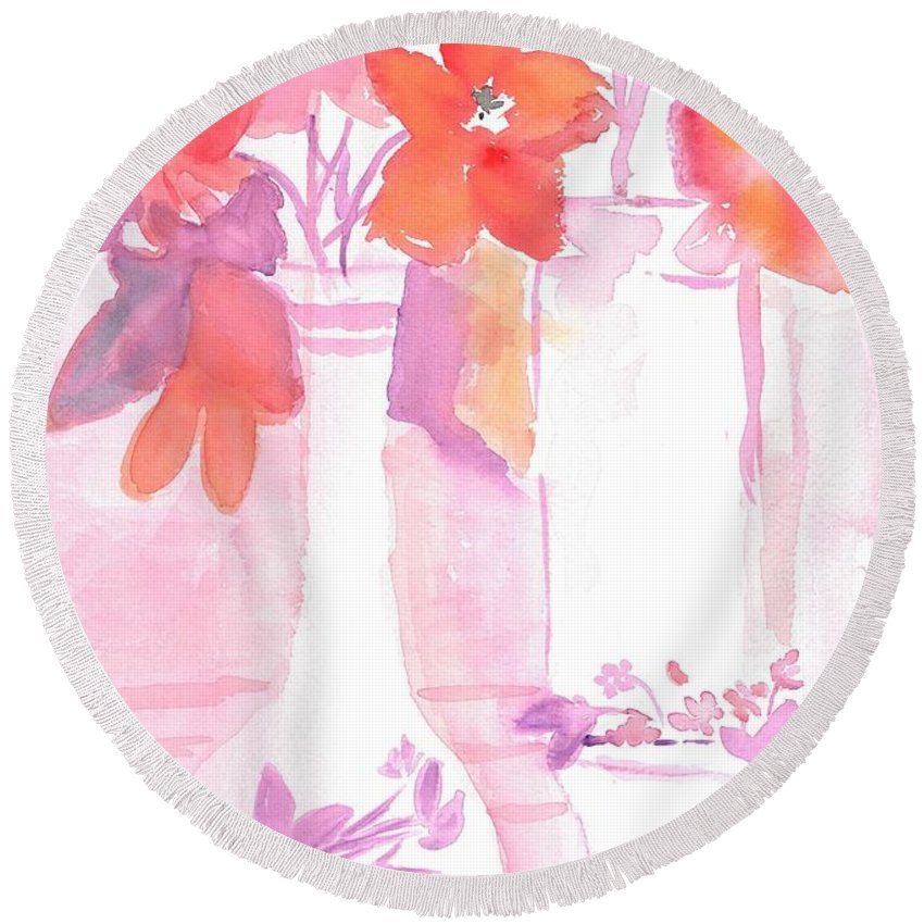 Pastel Pink Vase Round Beach Towel featuring the painting Pink Still Life by Susan Haddock