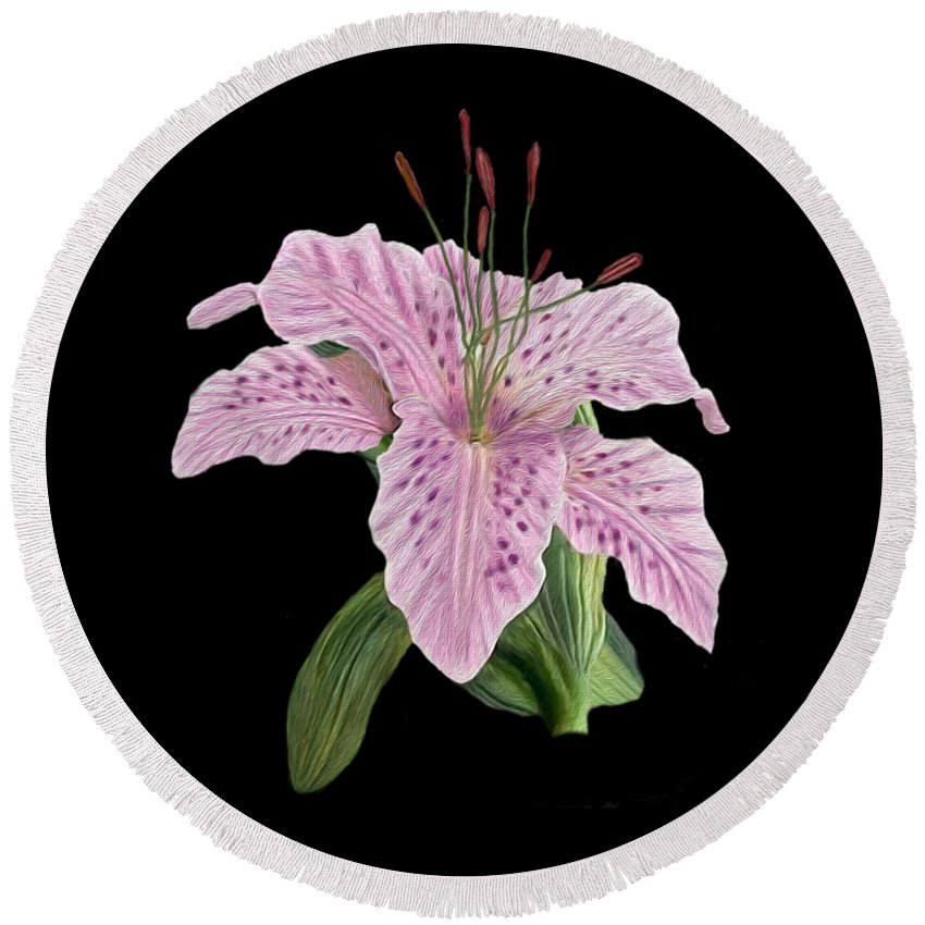 Pink Tiger Lily Round Beach Towel featuring the digital art Pink Tiger Lily Blossom by Walter Colvin