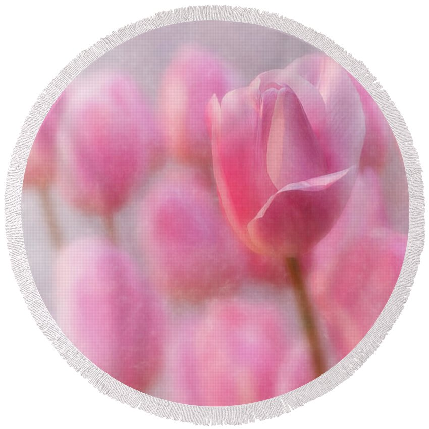 Tulip Round Beach Towel featuring the photograph Pink Tulip Crowd by Mary Jo Allen