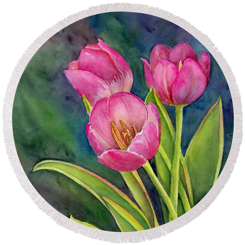 Pink Round Beach Towel featuring the painting Pink Tulip Twist by Amy Kirkpatrick