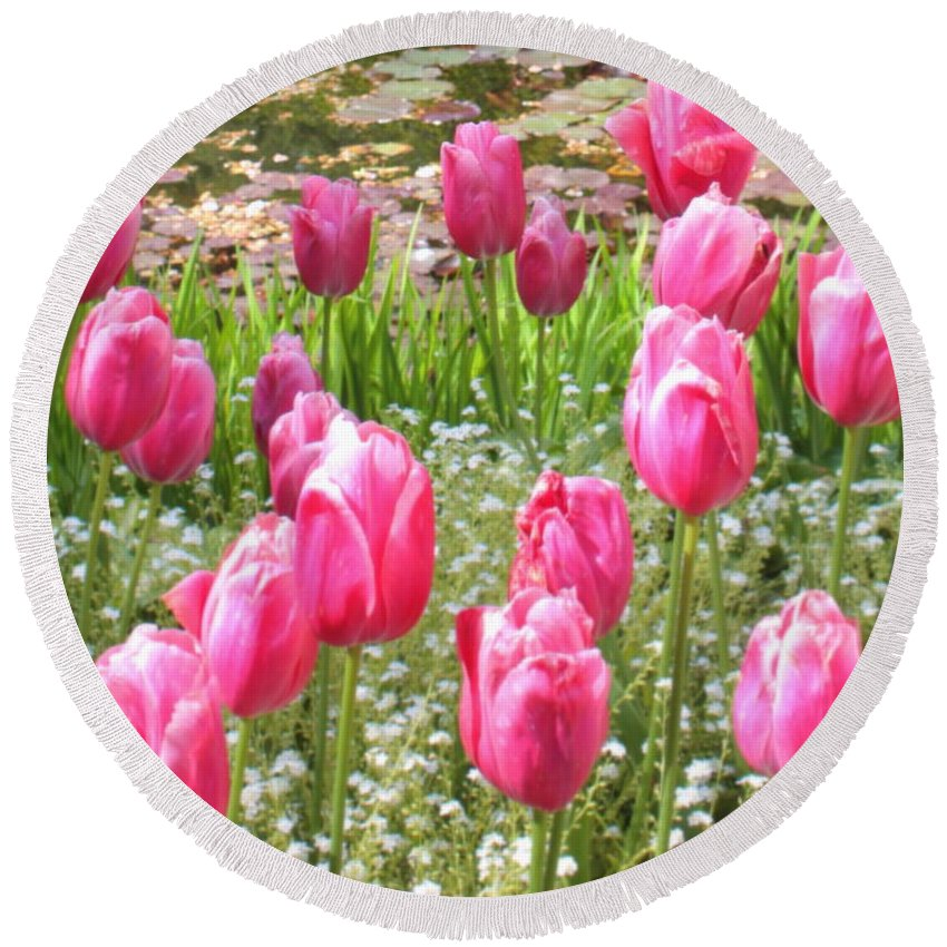 Ponds Round Beach Towel featuring the photograph Pink Tulips By Peaceful Pond by Carol Groenen