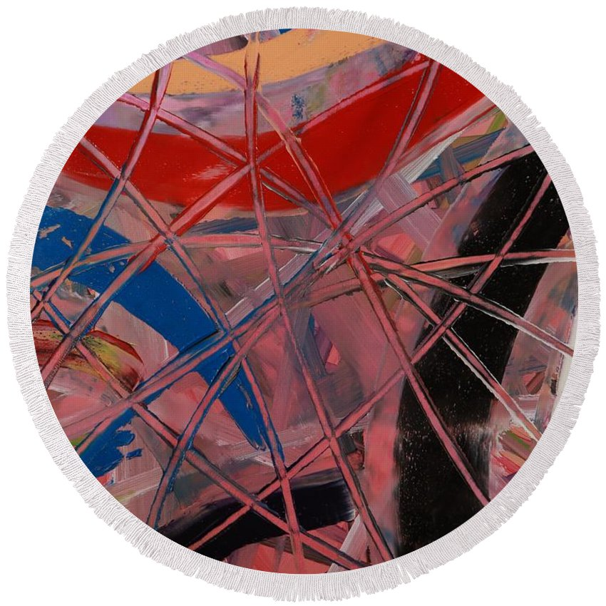 Oil Round Beach Towel featuring the painting Pink Web - 203 by Robert Dixon