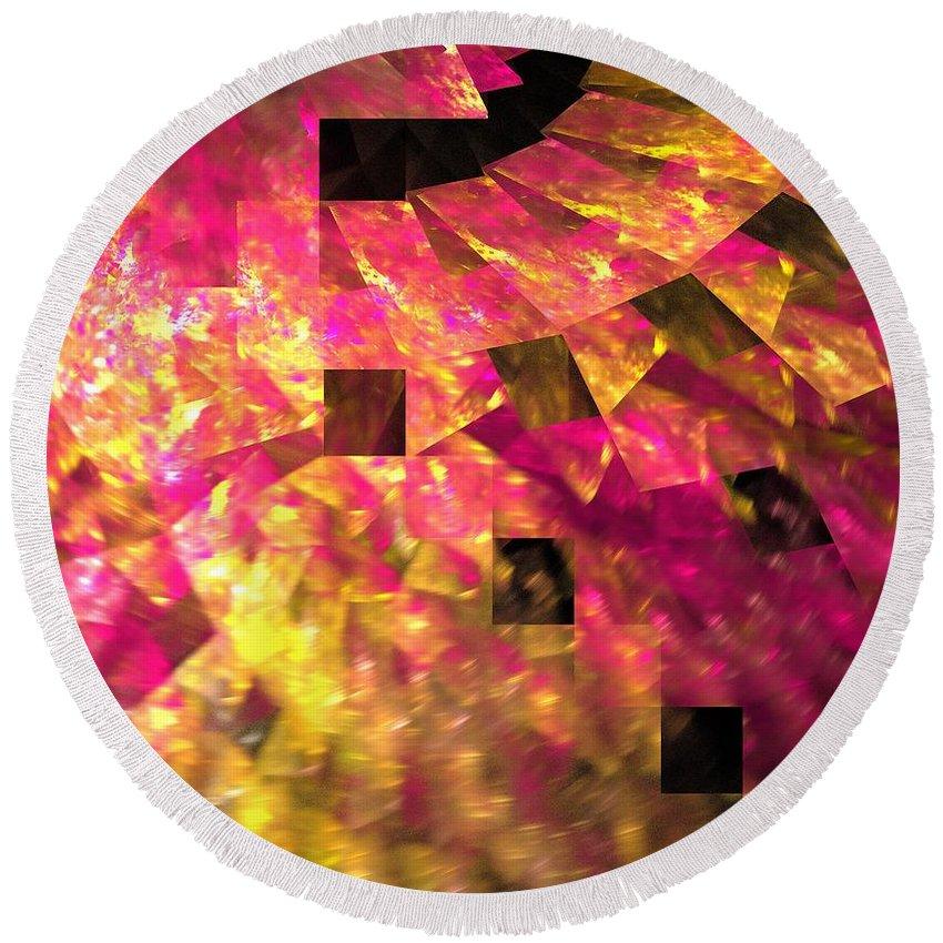 Apophysis Round Beach Towel featuring the digital art Pink Windows by Kim Sy Ok