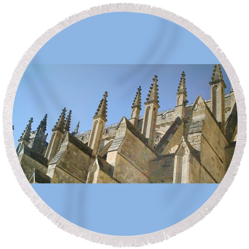 Cathedral Round Beach Towel featuring the photograph Pinnacles by Richard Brookes