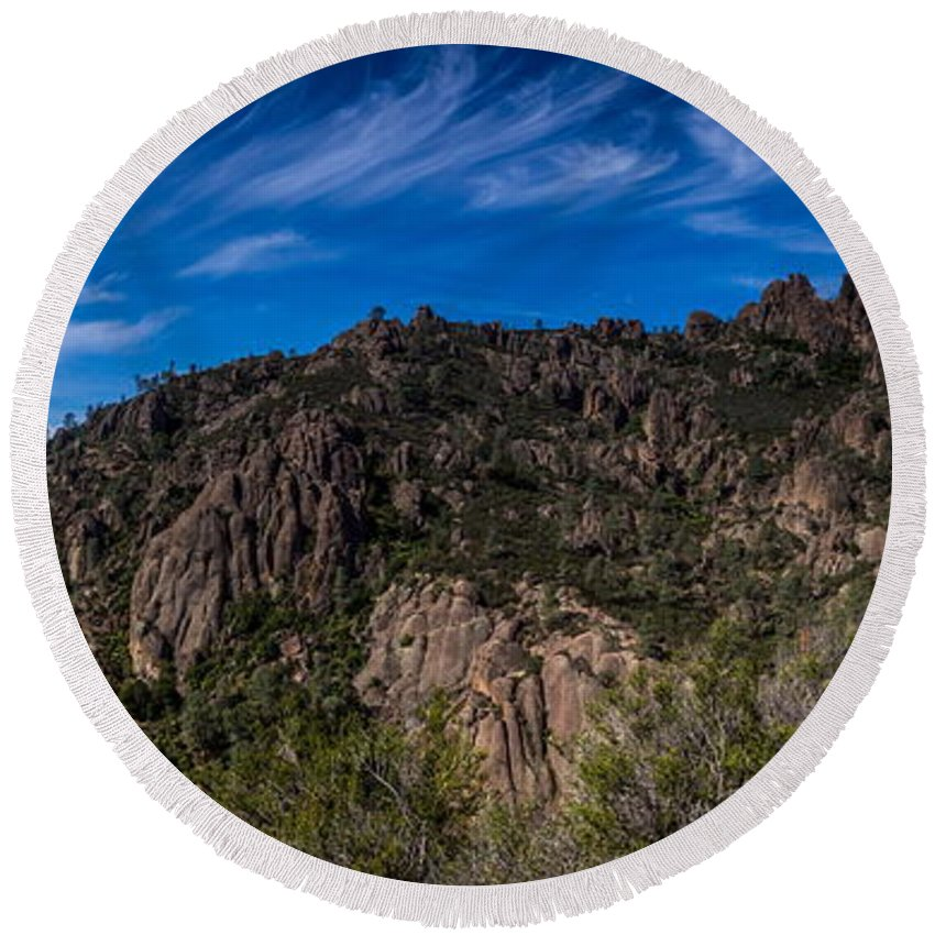 Michele James Photography Round Beach Towel featuring the photograph Pinnacles View by Michele James