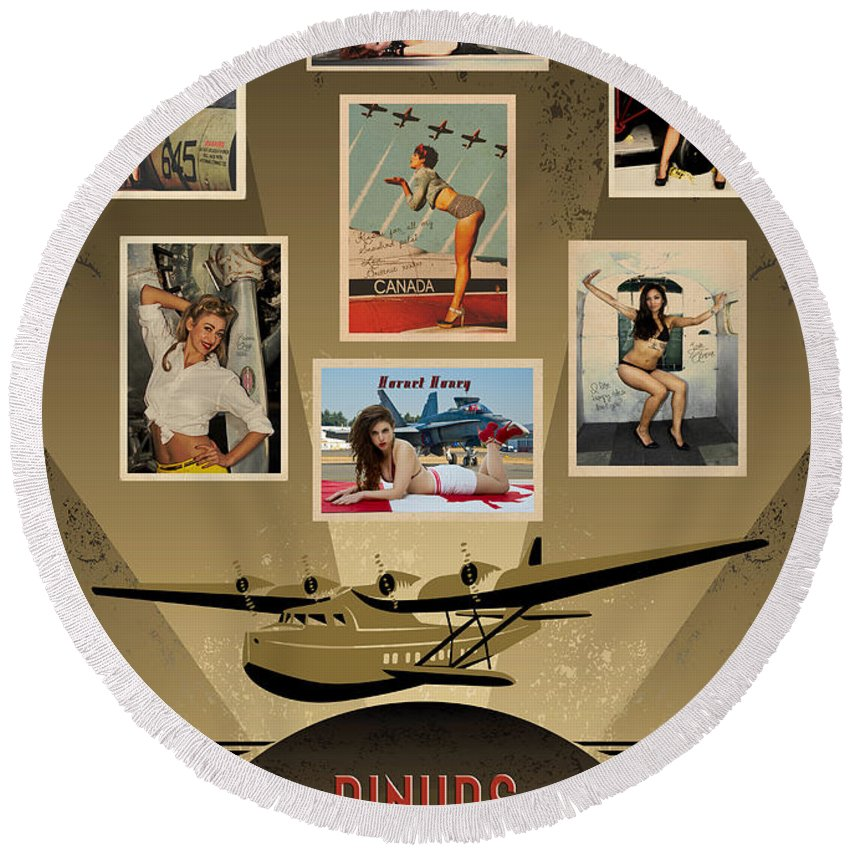 Pinups Round Beach Towel featuring the photograph Pinups - The Aviation Collection by Doug Matthews
