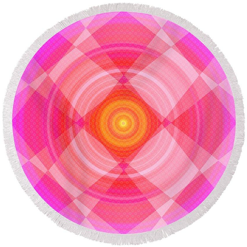 Pinwheel Round Beach Towel featuring the digital art Pinwheel In Motion by Shawna Rowe
