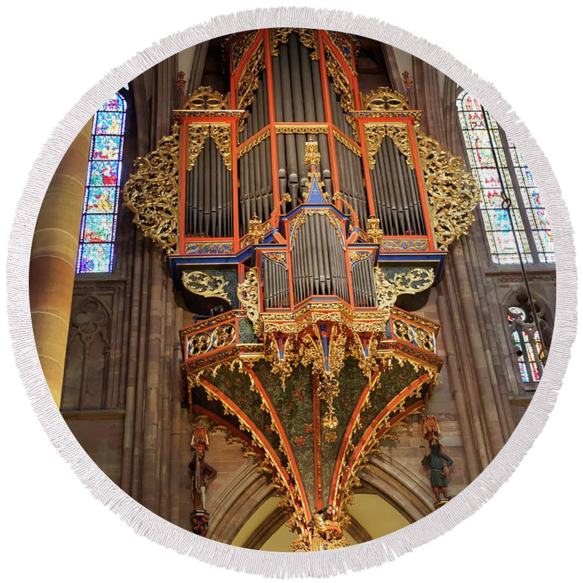 Pipe Organ Round Beach Towel featuring the photograph Pipe Organ In Strasbourg Cathedral by Louise Heusinkveld