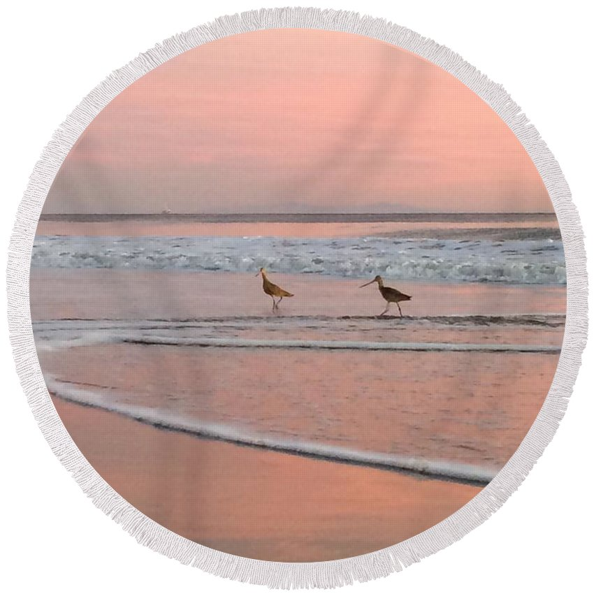 Landscape Round Beach Towel featuring the photograph Pipers In Pink by JoJo Brown