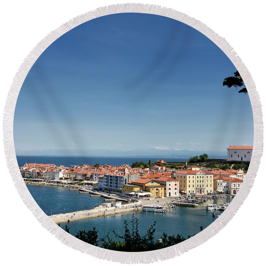 Piran Round Beach Towel featuring the photograph Piran Slovenia Gulf Of Trieste On The Adriatic Sea From The Punt by Reimar Gaertner