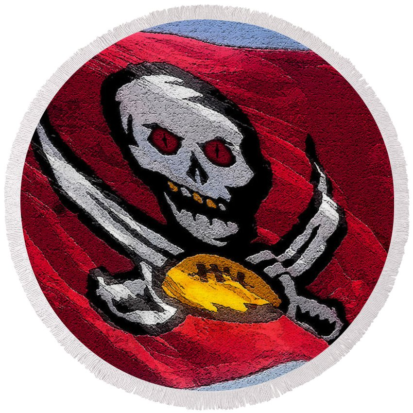 Art Round Beach Towel featuring the painting Pirate Football by David Lee Thompson