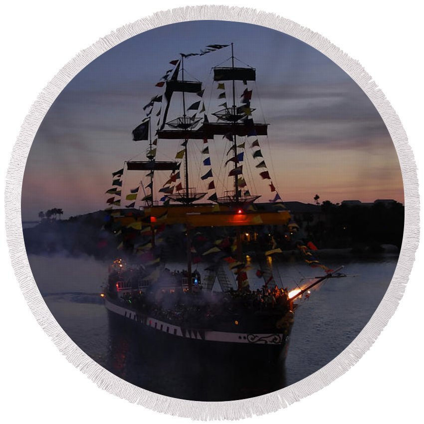 Pirates Round Beach Towel featuring the photograph Pirate Invasion by David Lee Thompson