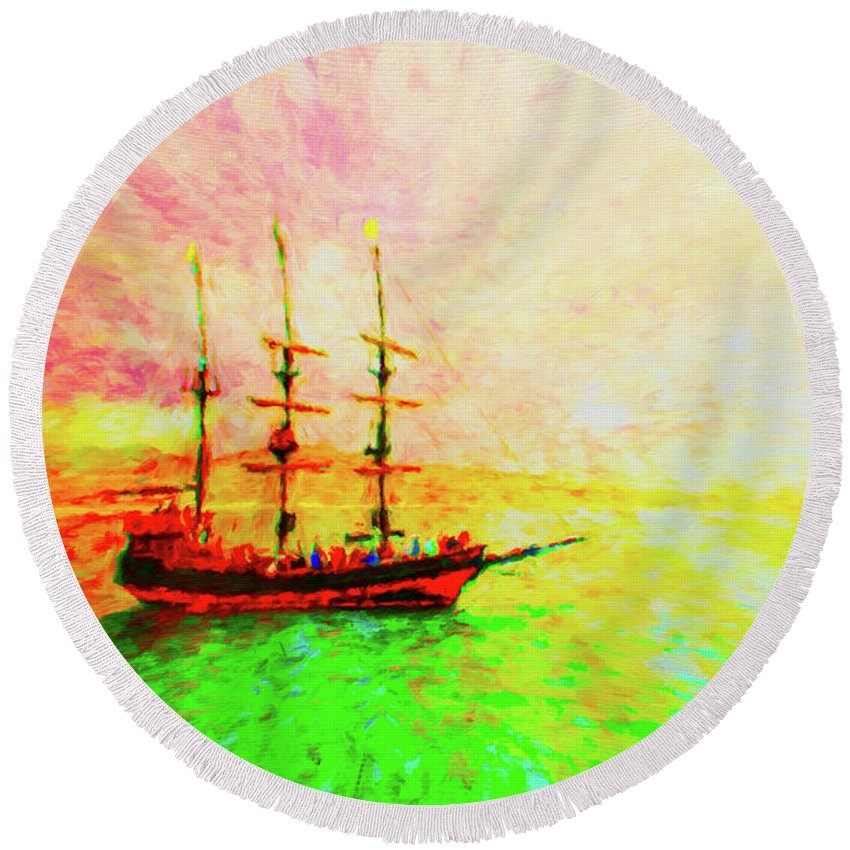 Pirate Ship Round Beach Towel featuring the photograph Pirate Ship by Jerome Stumphauzer