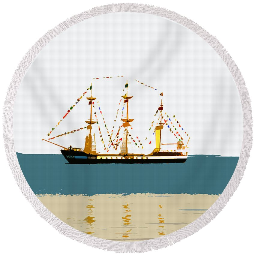 Pirate Ship Round Beach Towel featuring the painting Pirate Ship On The Horizon by David Lee Thompson