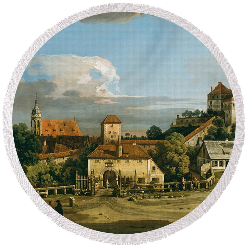 Bernardo Bellotto Round Beach Towel featuring the painting Pirna. The Obertor From The South by Bernardo Bellotto