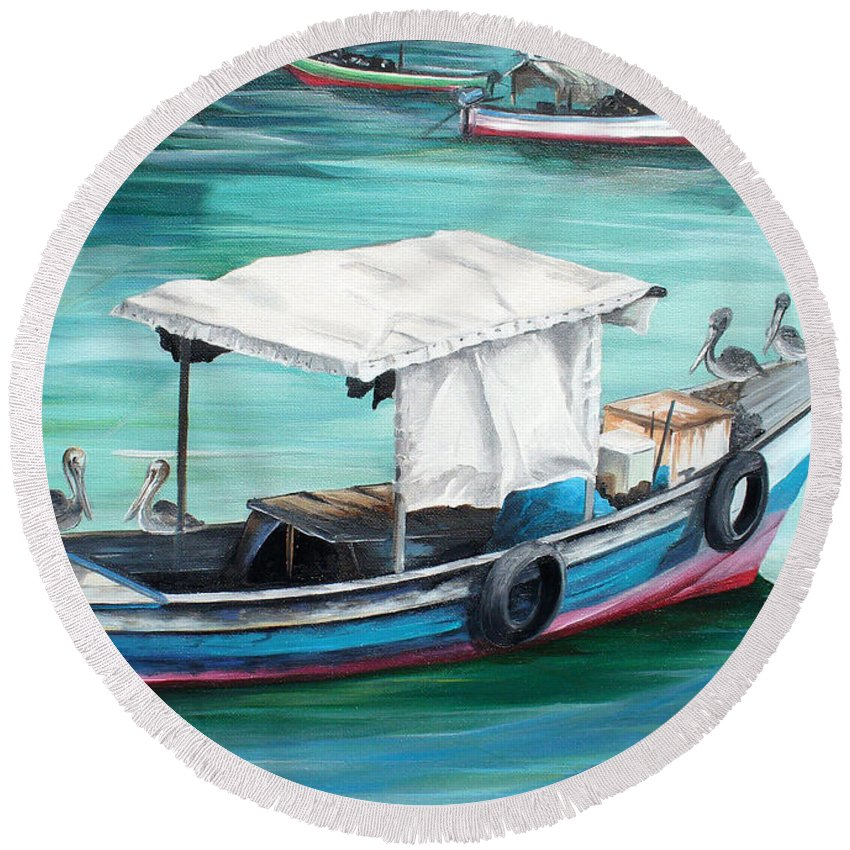 Fishing Boat Painting Seascape Ocean Painting Pelican Painting Boat Painting Caribbean Painting Pirogue Oil Fishing Boat Trinidad And Tobago Round Beach Towel featuring the painting Pirogue Fishing Boat by Karin Dawn Kelshall- Best