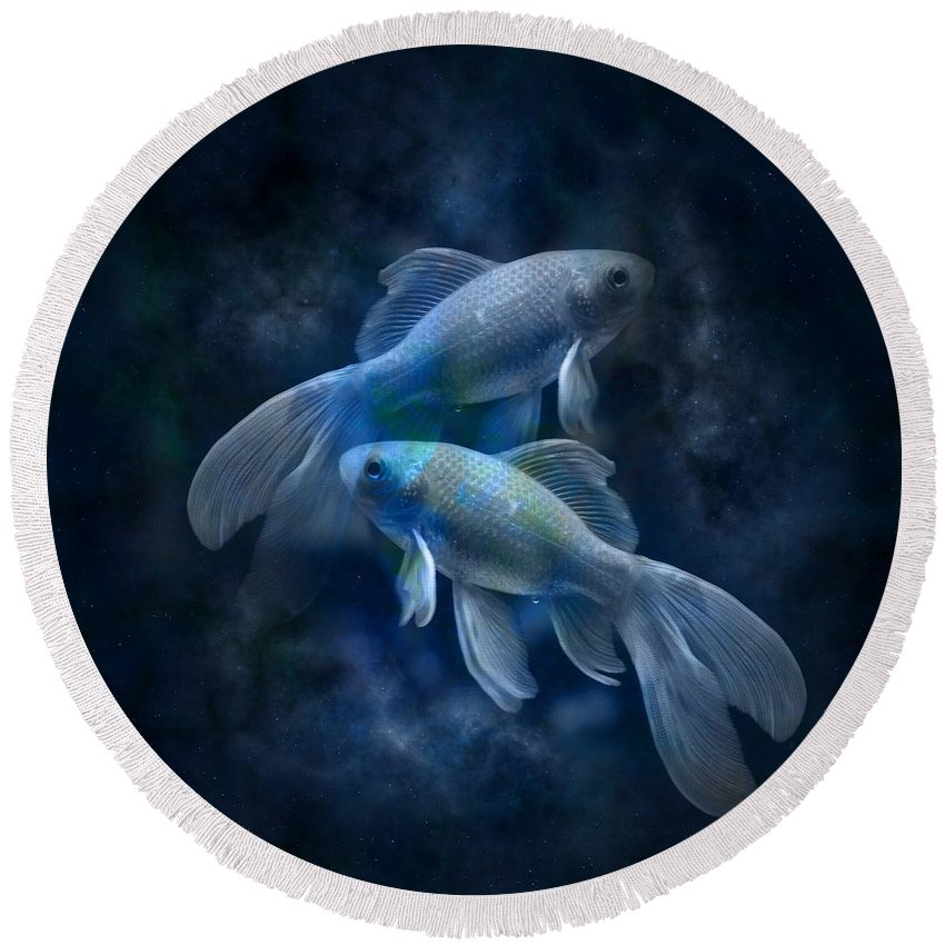 Witchcraft Round Beach Towel featuring the digital art Pisces by Frederick Holiday