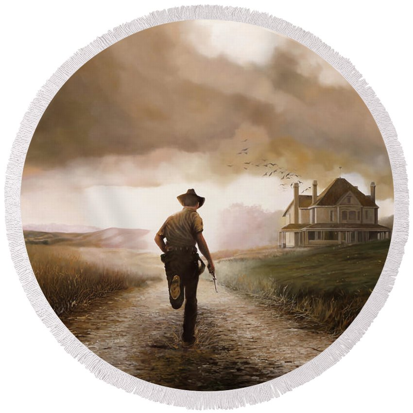 Cow Boy Round Beach Towel featuring the painting Un Pistola by Guido Borelli