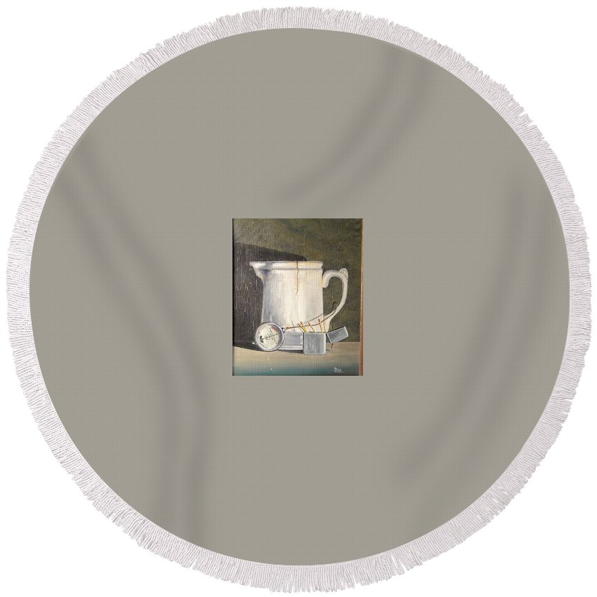 Still Life Round Beach Towel featuring the painting Pitcher, Meter And Matches Still Life by John Dix