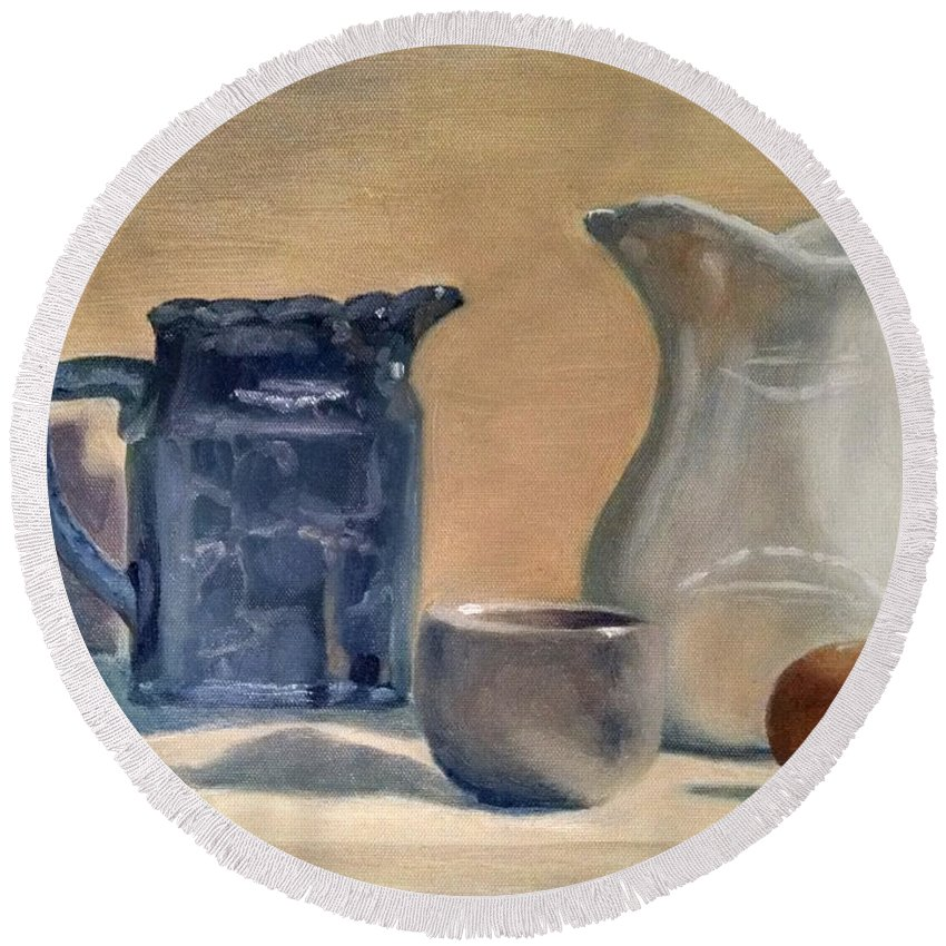 Still Life Round Beach Towel featuring the painting Pitchers by Maddie Morriss