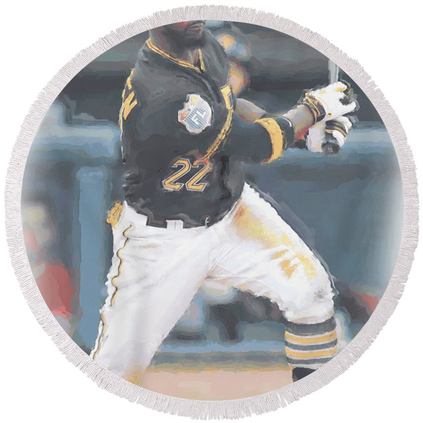Andrew Mccutchen Round Beach Towel featuring the digital art Pittsburgh Pirates Andrew Mccutchen 3 by Joe Hamilton