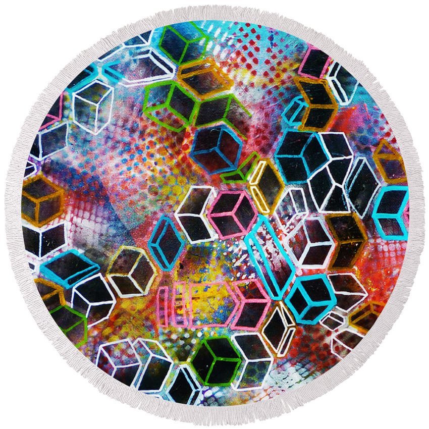 Canvas Round Beach Towel featuring the painting Pixelated Cubes by Larry Calabrese