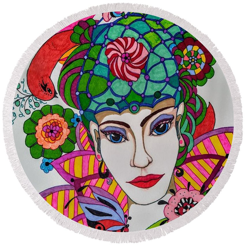 Fairy Round Beach Towel featuring the drawing Pixie Girl by Alison Caltrider