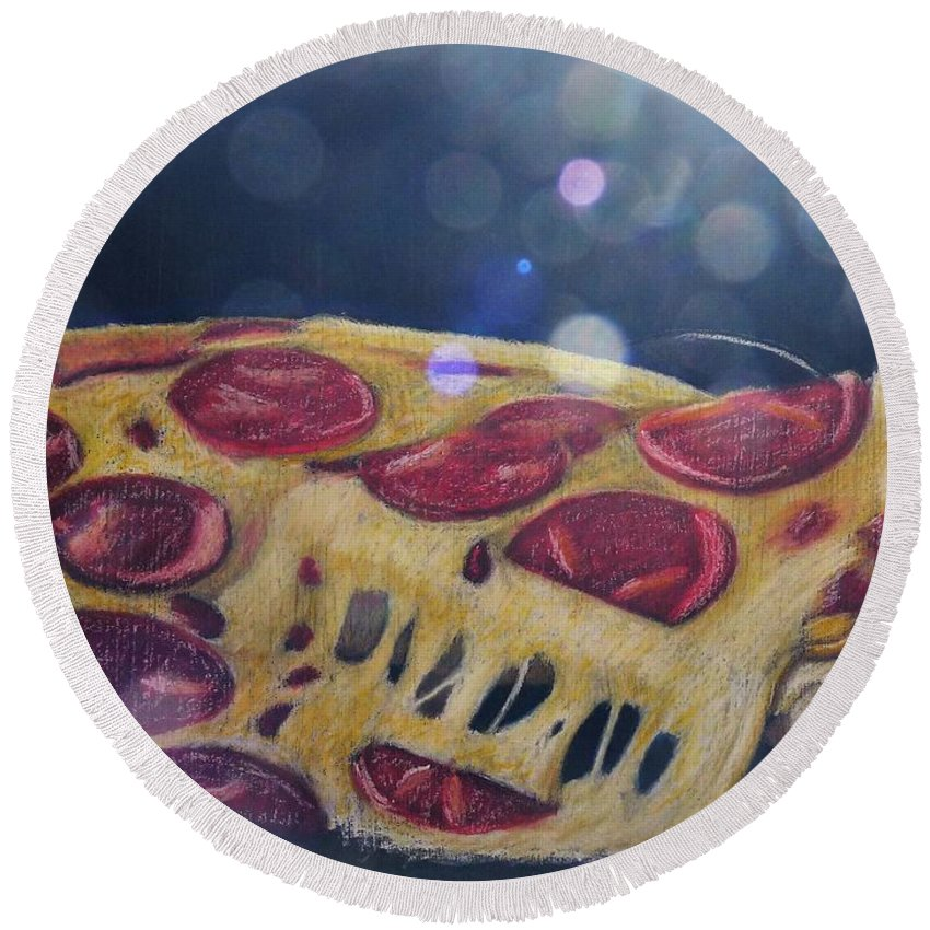 Pizza Round Beach Towel featuring the pastel Pizza Anyone by Richard Le Page