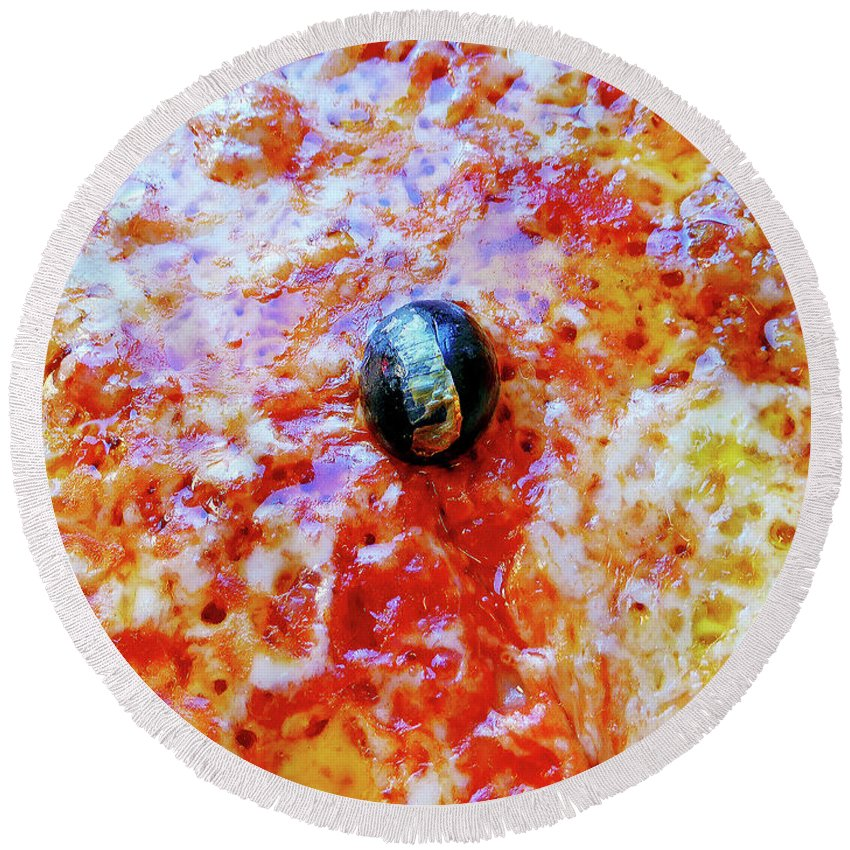 Seafood Round Beach Towel featuring the photograph Pizza Pie With Olive by Evan Peller