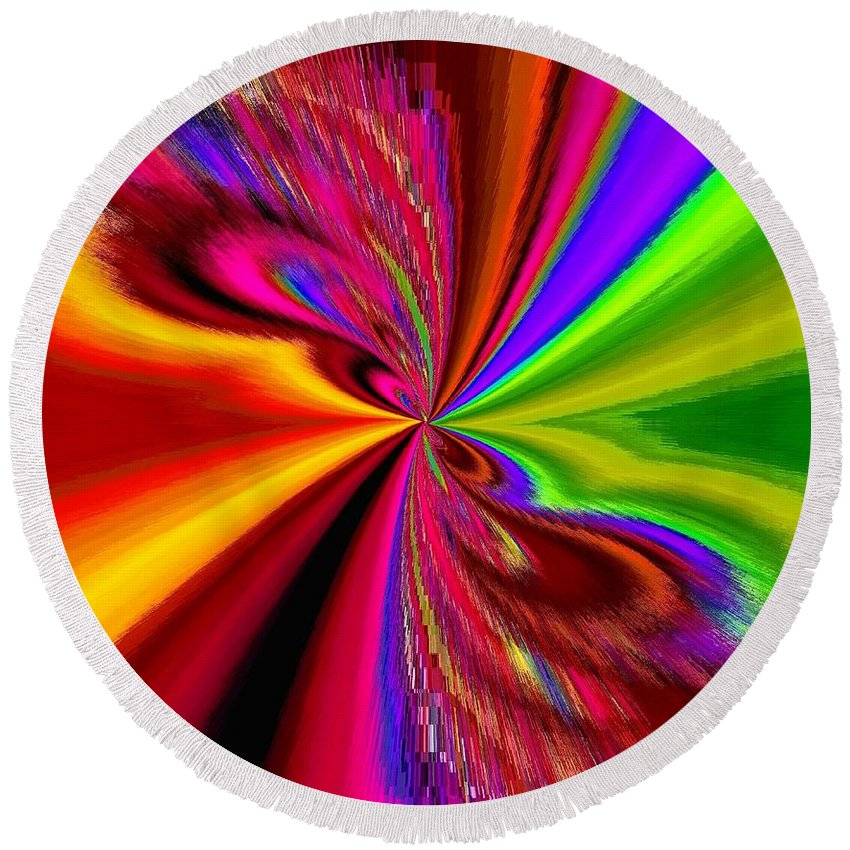 Abstract Round Beach Towel featuring the digital art Pizzazz 1 by Will Borden