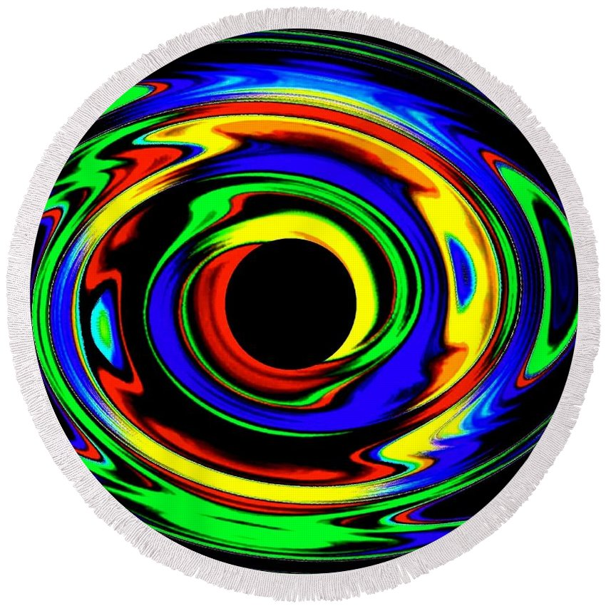 Abstract Round Beach Towel featuring the digital art Pizzazz 12 by Will Borden