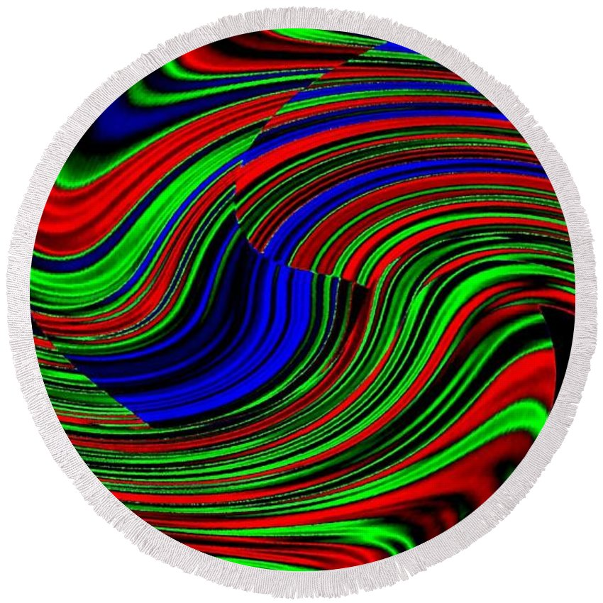 Abstract Round Beach Towel featuring the digital art Pizzazz 18 by Will Borden