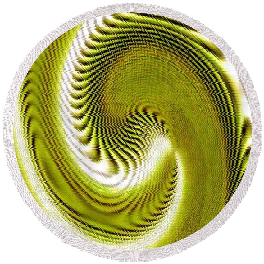 Abstract Round Beach Towel featuring the digital art Pizzazz 28 by Will Borden