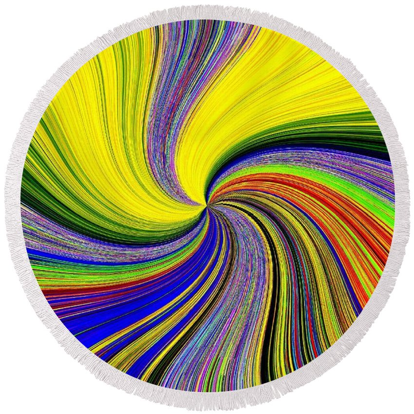 #stunningpizzazz53 Round Beach Towel featuring the digital art Pizzazz 53 by Will Borden