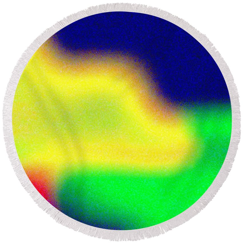 Abstract Round Beach Towel featuring the digital art Pizzazz 7 by Will Borden