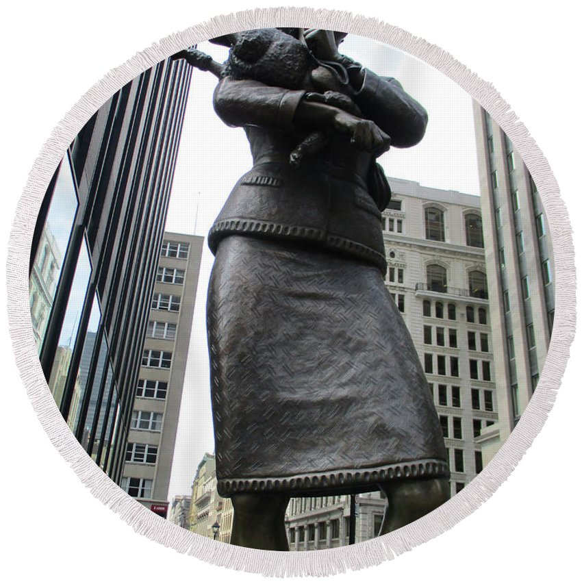 Montreal Round Beach Towel featuring the photograph Place D'armes Sculpture 2 by Randall Weidner