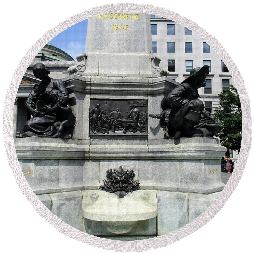Montreal Round Beach Towel featuring the photograph Place D'armes Sculpture 5 by Randall Weidner