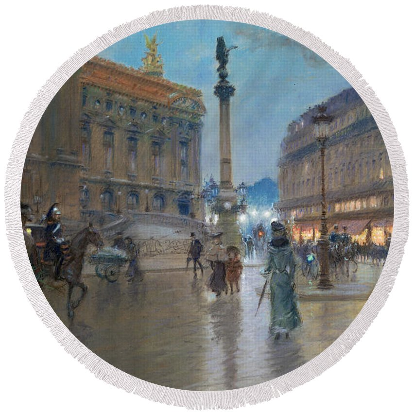 Place De L'opera Round Beach Towel featuring the painting Place De L Opera In Paris by Georges Stein