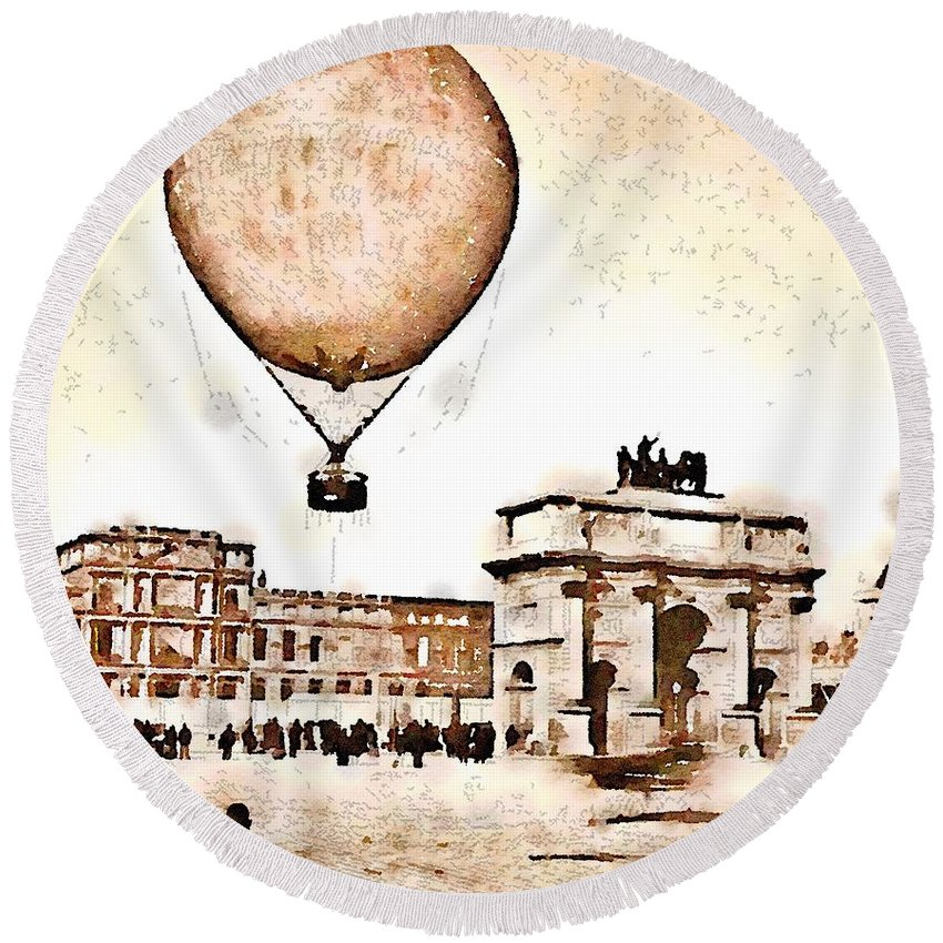 Paris Round Beach Towel featuring the painting Place Du Carrousel 1878 by Helge