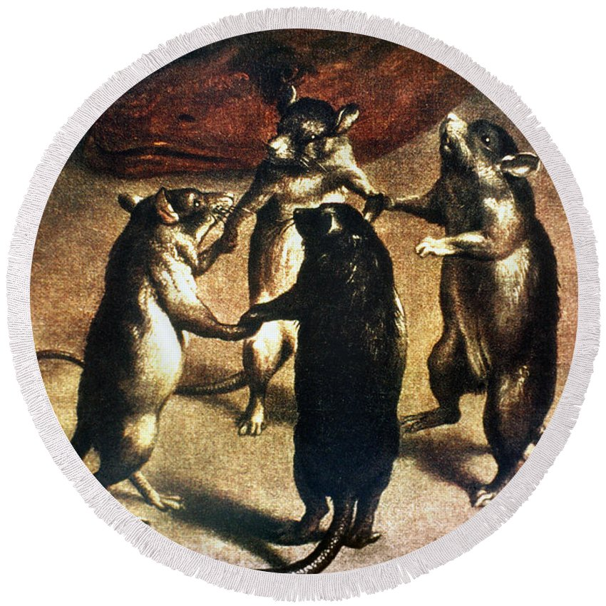 1800 Round Beach Towel featuring the photograph Plague: Dance Of The Rats by Granger
