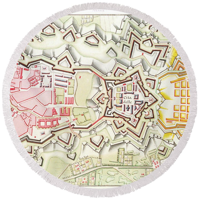 Plan City Round Beach Towel featuring the mixed media Plan Of Part Of The City And Citadel Of Strasbourg by Art Makes Happy