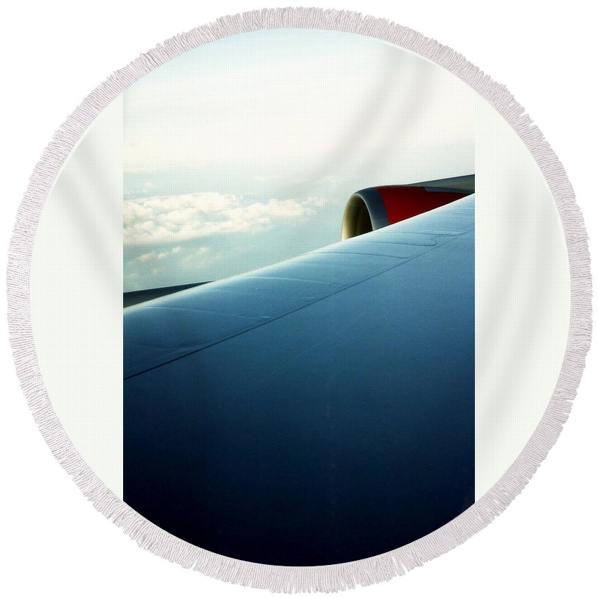 Aeroplane Round Beach Towel featuring the photograph Plane View by Catt Kyriacou