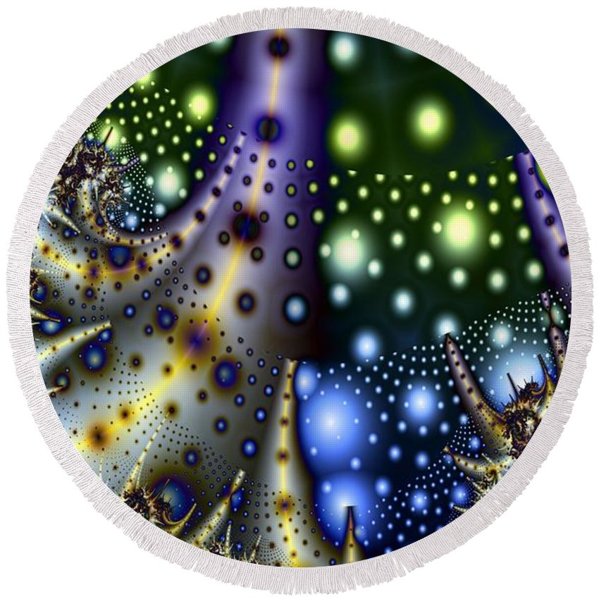 Fractal Round Beach Towel featuring the digital art Planet Birthplace by Ron Bissett